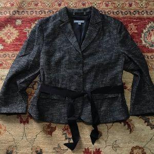 Ann Taylor grey tweed classic black tie blazer